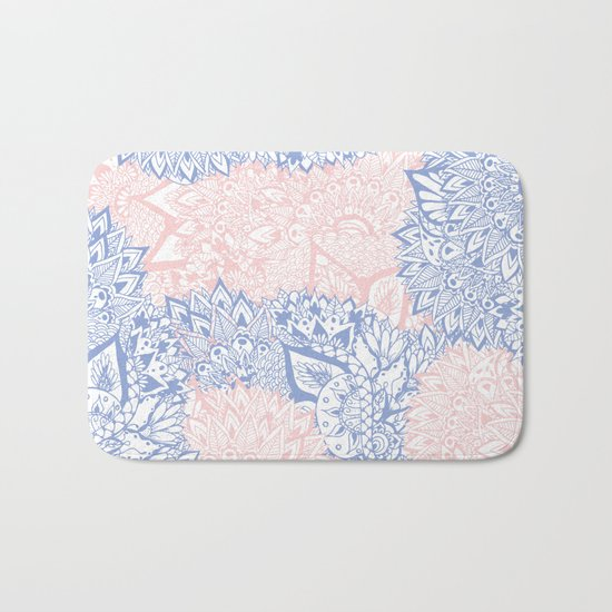 Modern pink rose quartz serenity blue mandala floral illustration Bath Mat