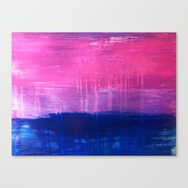 Bisexual Flag: abstract acrylic piece in pink, purple, and blue #pridemonth Canvas Print