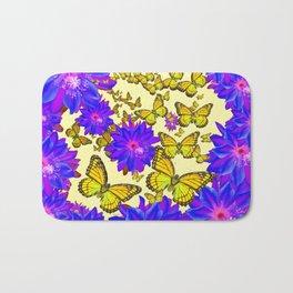 Amethyst Purple Flowers Butterfly Floral  Art Bath Mat