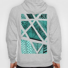 Geometric doodle pattern - turquoise and black Hoody