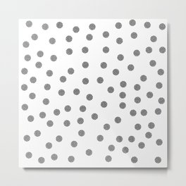 Preppy brushstroke dots black and white spots design minimal #society6 #decor #buyart #artprint Metal Print