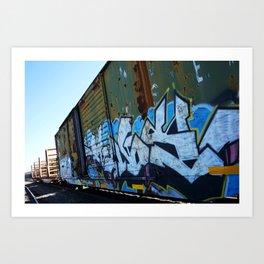 Box Car Green Graffiti Art Print