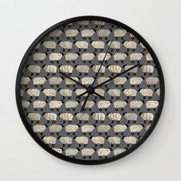 Wee Wooly Sheep in Aran Sweaters  Wall Clock