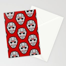 Knitted Jason hockey mask pattern Stationery Cards