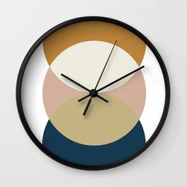 Sun and Moon, Geometric Art, Yellow, Pink, Blue Wall Clock