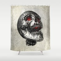 cyberpunk Shower Curtains featuring No Laughing Matter (background option) by Obvious Warrior