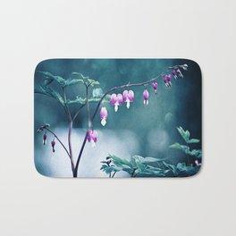 Bleeding Hearts Flower Photography, Navy Pink Purple Floral Nature Art Bath Mat