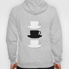 Retro Coffee Print - Black & White Cups on Burnished Orange Background Hoody