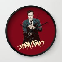 quentin tarantino Wall Clocks featuring Quentin by CromMorc