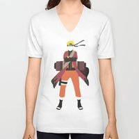 naruto V-neck T-shirts featuring Sage Naruto by JHTY