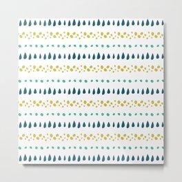Modern blue teal lime green waterdrop dots stripes Metal Print