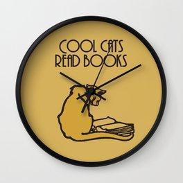 Cool cats read books Wall Clock