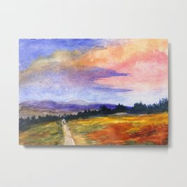 The Good Life, Landscape Watercolor Painting Metal Print