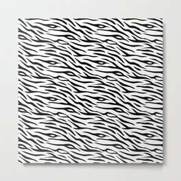 Large Black and White Tiger Stripes Animal Print Metal Print
