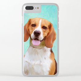 Beagle Dog Art Portrait Clear iPhone Case