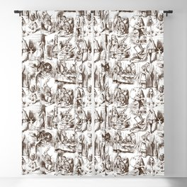 Alice in Wonderland | Toile de Jouy Pattern | Brown and White | Vintage Pattern | Victorian Gothic | Blackout Curtain