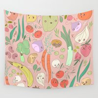 vegan Wall Tapestries featuring The vegan naked party ! by Tutank