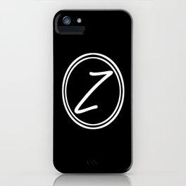 Monogram - Letter Z on Black Background iPhone Case