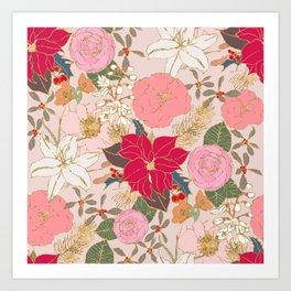Elegant Golden Strokes Colorful Winter Floral Art Print