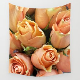 Peach Roses Wall Tapestry