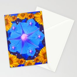 Blue Morning Glory Yellow Sunflowers Floral Pattern Stationery Cards