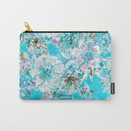 BEACH BABE Aqua Watercolor Floral Carry-All Pouch