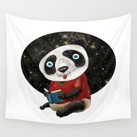 panda Wall Tapestries featuring Panda by gunberk