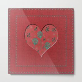 Heartful with flowers - red Metal Print