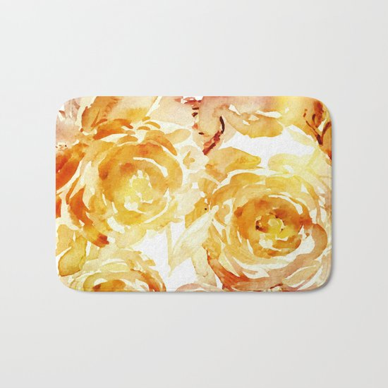 Sunny Day Painterly Floral Abstract Bath Mat
