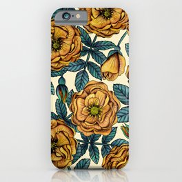 Golden Yellow Roses - A Vintage-Inspired Floral/Botanical Pattern iPhone Case