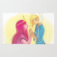 princess bubblegum Area & Throw Rugs featuring Fiona and Princess Bubblegum by Dani Taillefer