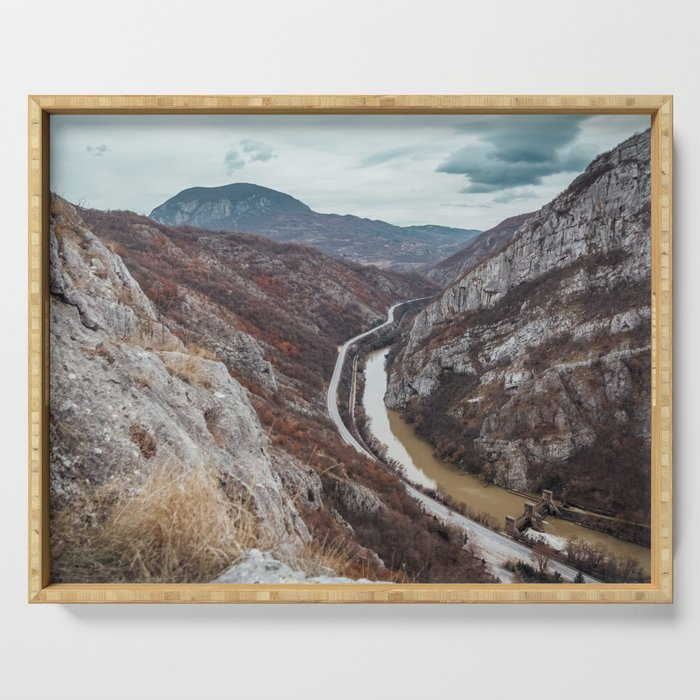 Beautiful photo of the canyon in Serbia, with river and the highway in the middle Serving Tray