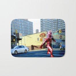 Spaceman crossing Kissina Boulevard in Queens New York Bath Mat