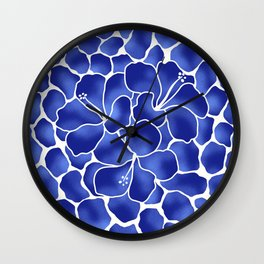 Hibiscus Animal: China Blue Wall Clock