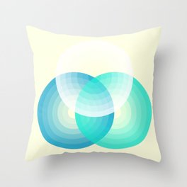 Three colour circles inverted, inspired by Lacouture's Répertoire chromatique Throw Pillow