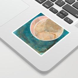Pink Eco Print Moon Sticker