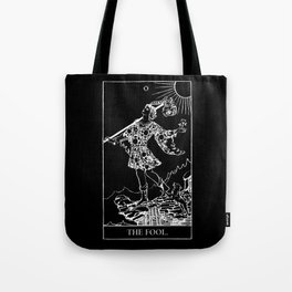 0. The Fool- White Line Tarot Tote Bag