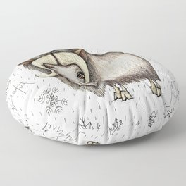 Chinese horoscope / zodiac, Year of the Ox:  The Beautiful Musk Ox with snow and mountains Floor Pillow