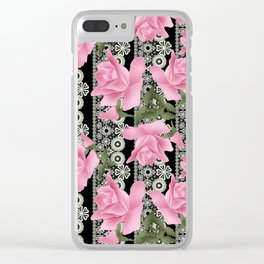 Gentle roses on a lace background. Clear iPhone Case
