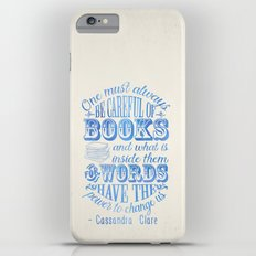Be Careful Of Books - White and Blue Slim Case iPhone 6 Plus