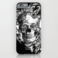 Butterfly smoke skull on black base.  Slim Case iPhone 6