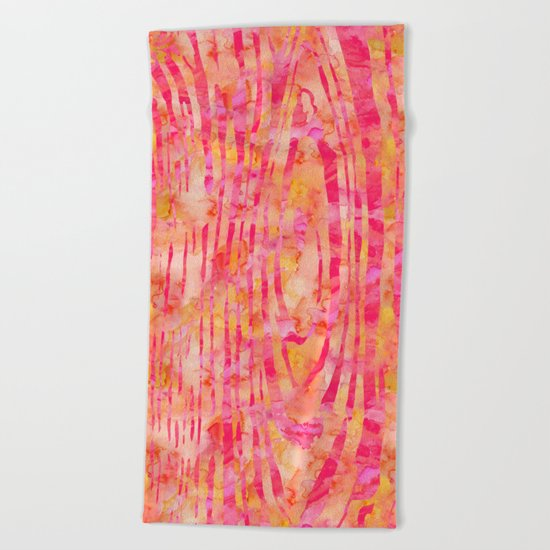Orange Wood Print Beach Towel