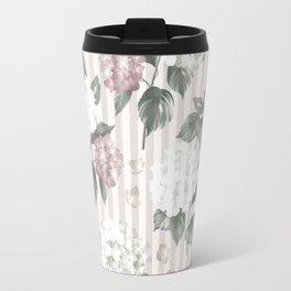 Bohemian pastel pink green floral stripes pattern Travel Mug
