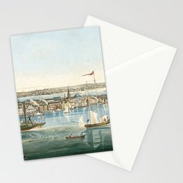 Vintage Panoramic Map of NYC (1844) Stationery Cards