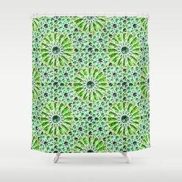 Geometric gemstones (emerald) Shower Curtain