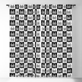 Black and White Skull and Crossbones Check Pattern Blackout Curtain