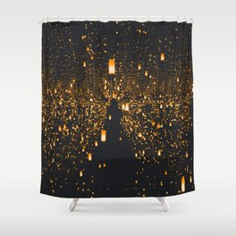 Golden Lights (Color) Shower Curtain