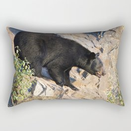 Black bear on a cliff in Jasper National Park Rectangular Pillow