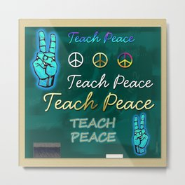 Teach Peace Blackboard Symbols Metal Print