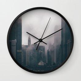 Chicago Shrouded in Fog Wall Clock